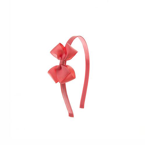 Small London Bow Headband - Coral Rose