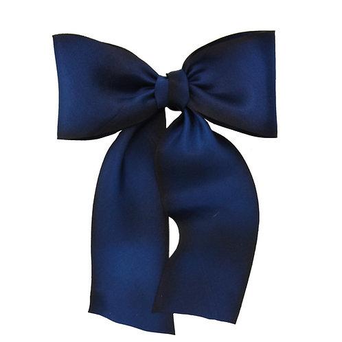 Oversized Long Silk Bow - Midnight