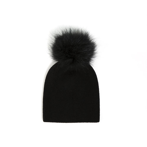Angora Single Pom Hat - Black - 5 year to Adult