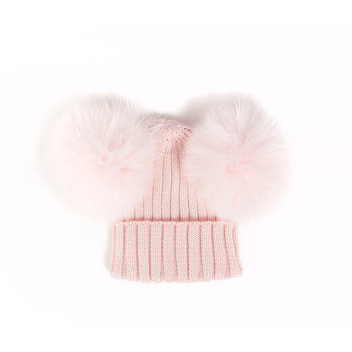 *EXCLUSIVE* Merino Wool Double Pom Child and Adult Hat - Pink - 2 years to adult