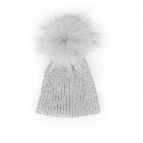 Angora Single Pom Grey Hat - Child to Big Kids