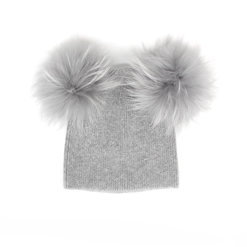 Angora Double Pom Hat - 6 year to Adult