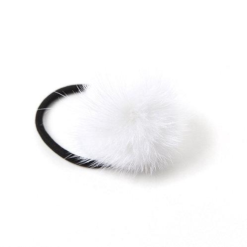 Mink Puff Hair Tie - White