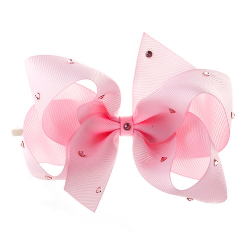 Large Classic Bow Soft Hairband - Pearl Pink with Swarovski Cry