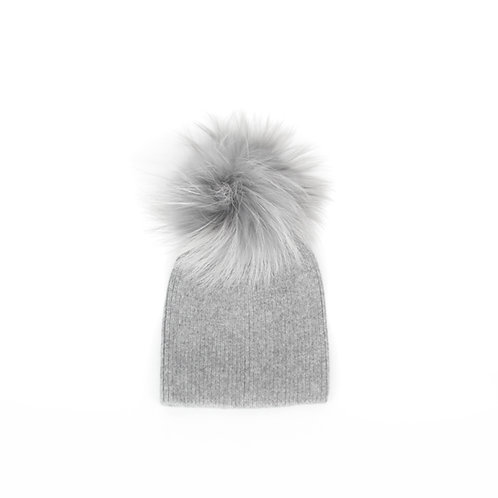 *Exclusive* Angora Single Pom Hat - baby to 2 years Grey
