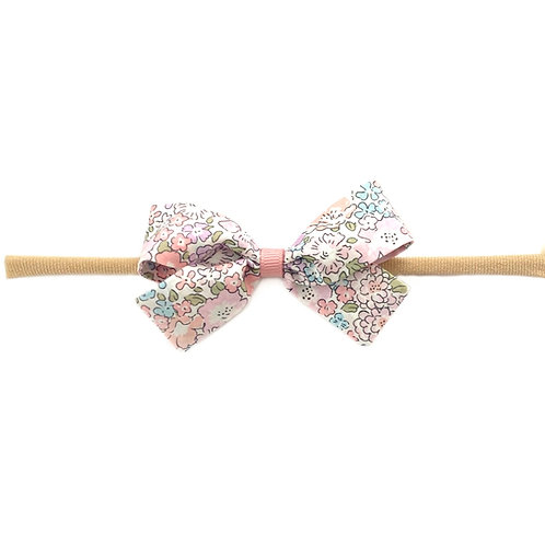 Small Paris Liberty Bow Soft Hairband - Michelle Pink