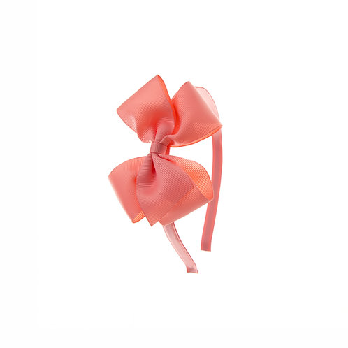 Medium London Bow Hairband - Light Coral