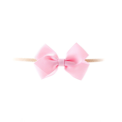 Small London Bow Soft Hairband - Pearl Pink