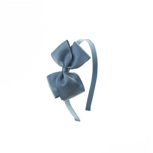 Medium London Bow Hairband - Antique Blue