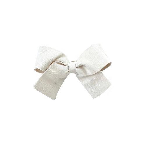 Small Paris Bow - Antique White  Silk Taffeta