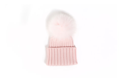 *EXCLUSIVE* Merino Wool Single Pom Child and Adult Hat - pink - 2 years to adult