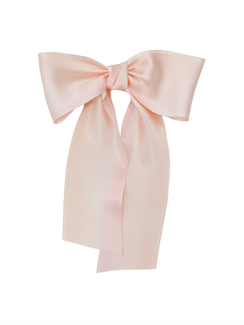 Oversized Long Silk Bow - Peach Blossom