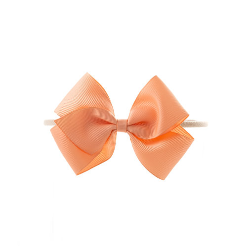Medium London Bow Soft Hairband - Peach