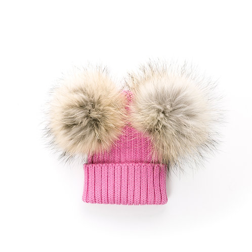 Rose Pink Double Racoon Pom Baby Hat - Size T1 - baby to 2 years