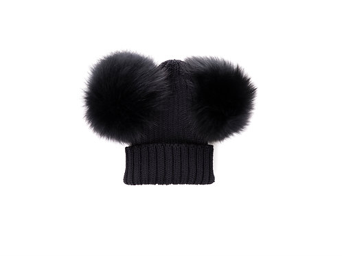 Merino Wool Double Pom Baby Hat - Black  - baby to 18 months