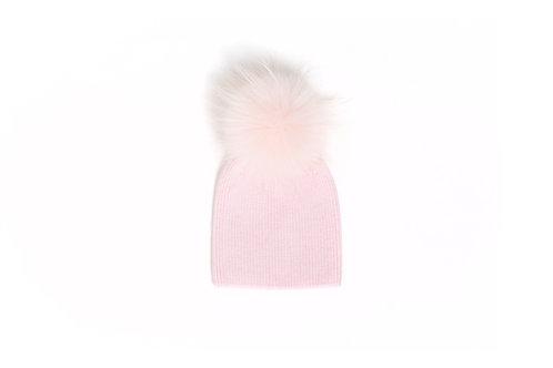 Angora Single Pom Child Hat - 2 years to 5 years Pink