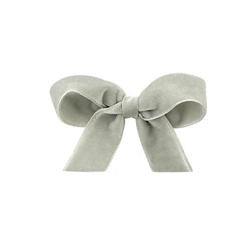 Medium Velvet Bow - Silver