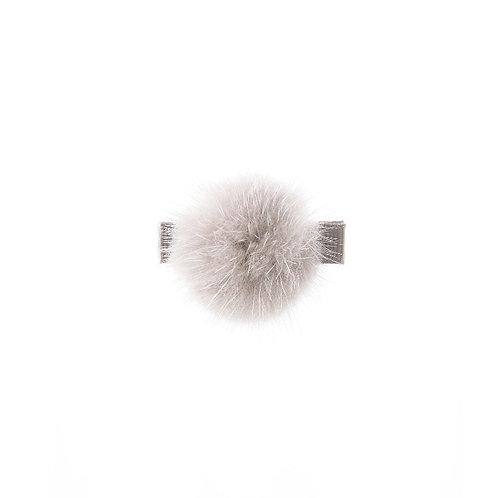 Medium Mink Puff Clip - Grey