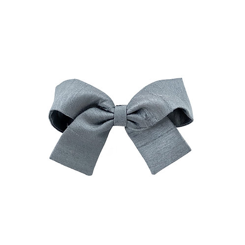 Small Paris Bow - Slate Silk Taffeta