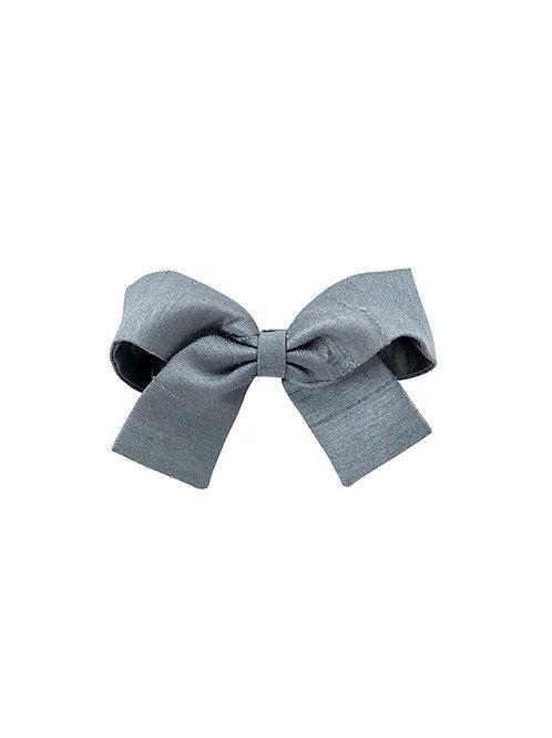 Small Paris Bow - Slate Silk Taffeta