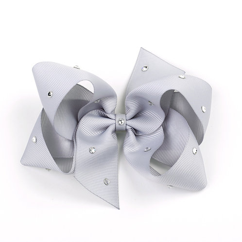 Large Classic Bow - Shell Grey with Swarovski Crystals