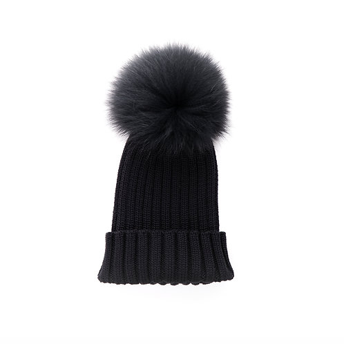 Merino Wool Single Pom Child and Adult Hat - black - 2 years to adult