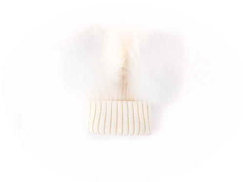 Merino Wool Double Pom Baby Hat - Ivory - baby to 18 months