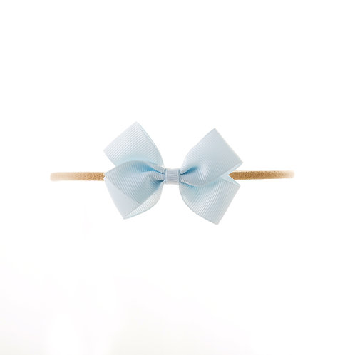 Small London Bow Soft Hairband - Blue Vapor