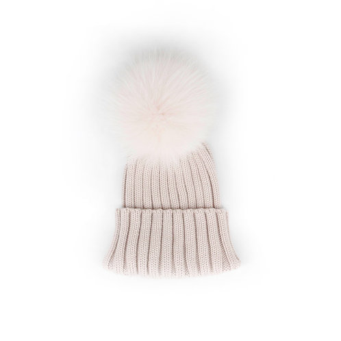 *EXCLUSIVE*Merino Wool Single Pom Child and Adult Hat - Stone - 2 years to adult