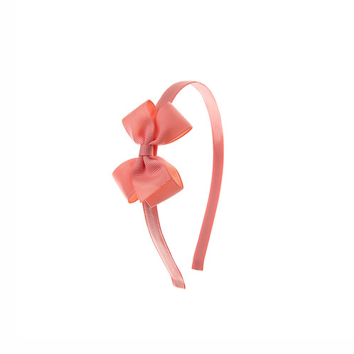 Small London Bow Hairband - Light Coral
