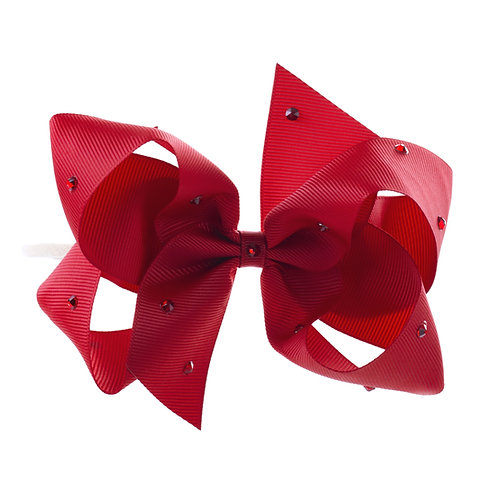 Large Classic Bow Soft Hairband - Scarlet with Swarovski Cry