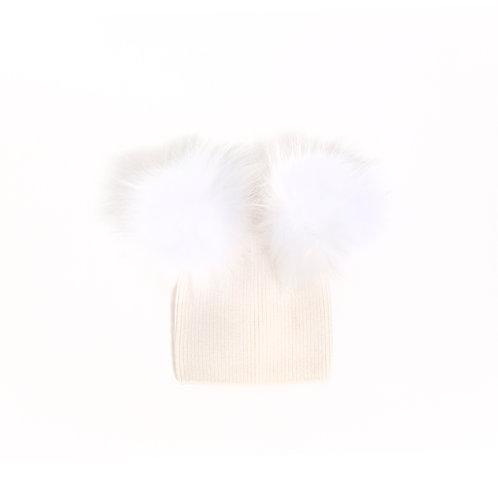 Angora Double Pom Child Hat - 2 years to 5 years Ivory