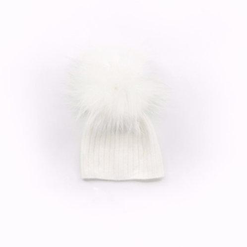 Angora Lightweight Single Pom Hat Winter White - Baby