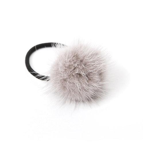 Mink Puff Hair Tie - Light Grey