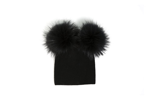 Angora Double Pom Hat - Black - 5 year to Adult