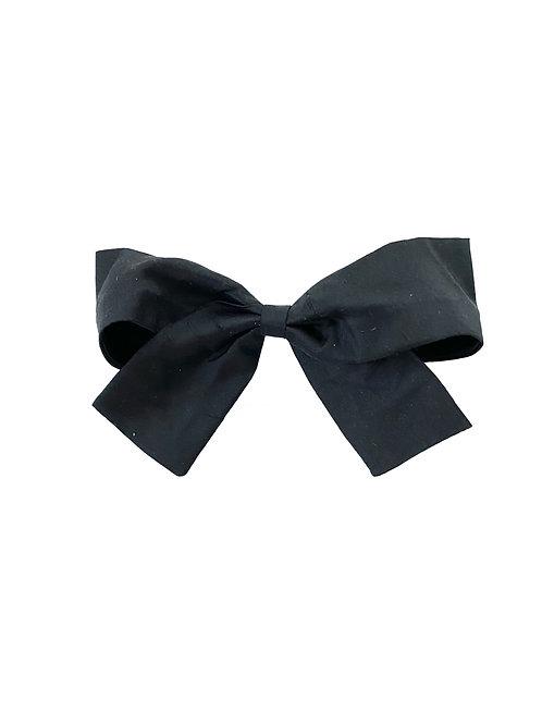 Medium Paris Bow - Black  Silk Taffeta