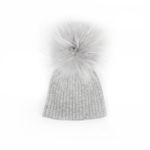Angora Lightweight Single Pom Grey Hat - 1 to 3 year