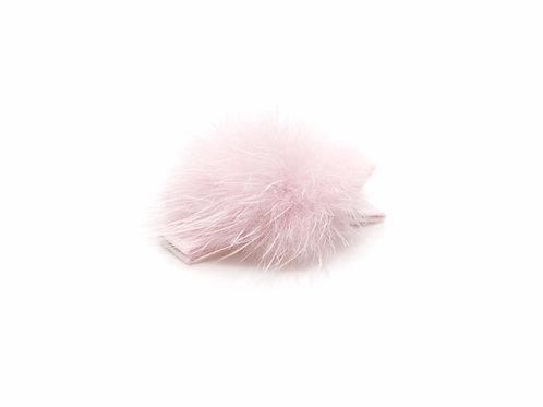 Small Mink Puff Hair Clip - Powder Pink