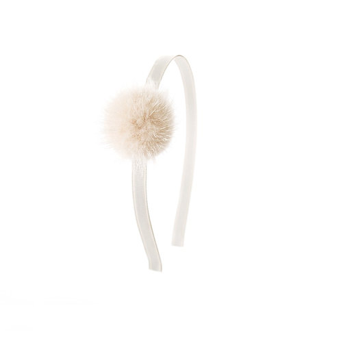 Large Mink Puff Hairband - Light Oatmeal