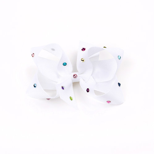 Medium Bow - White Multicolored Crystals