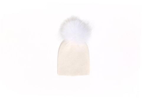 Angora Single Pom Child Hat - 2 years to 5 years Ivory