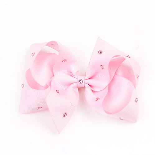 Large Classic Bow - Pearl Pink with Swarovski Crystals