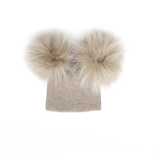 *Exclusive* Angora Double Pom Hat - baby to 2 years Fawn
