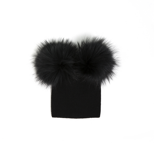 Angora of Double Pom Child Hat - 2 years to 5 years Black
