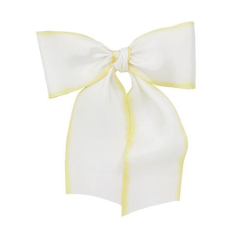 Oversized Long Silk Bow - Lemon Meringue