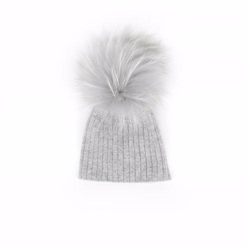 Angora Lightweight Single Pom Grey Hat - Baby