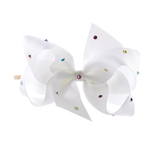 Large Classic Bow Soft Hairband - White with Multi Coloured Swarovski Cry