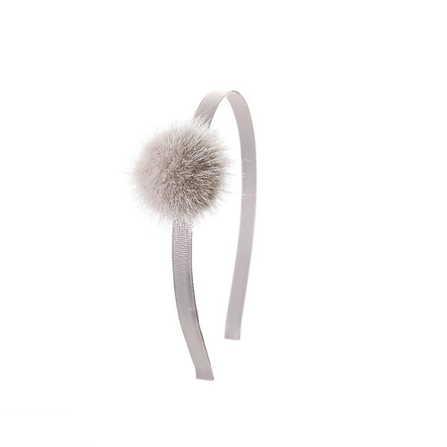 Large Mink Puff Hairband - Light Grey