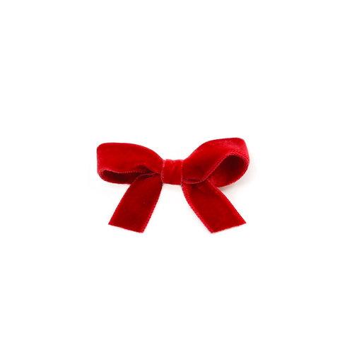 Small Velvet Bow - Scarlet