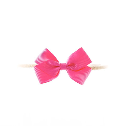 Small London Bow Soft Hairband - Hot Pink